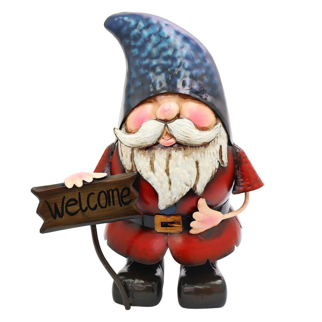 Metal Gnome with Welcome Sign