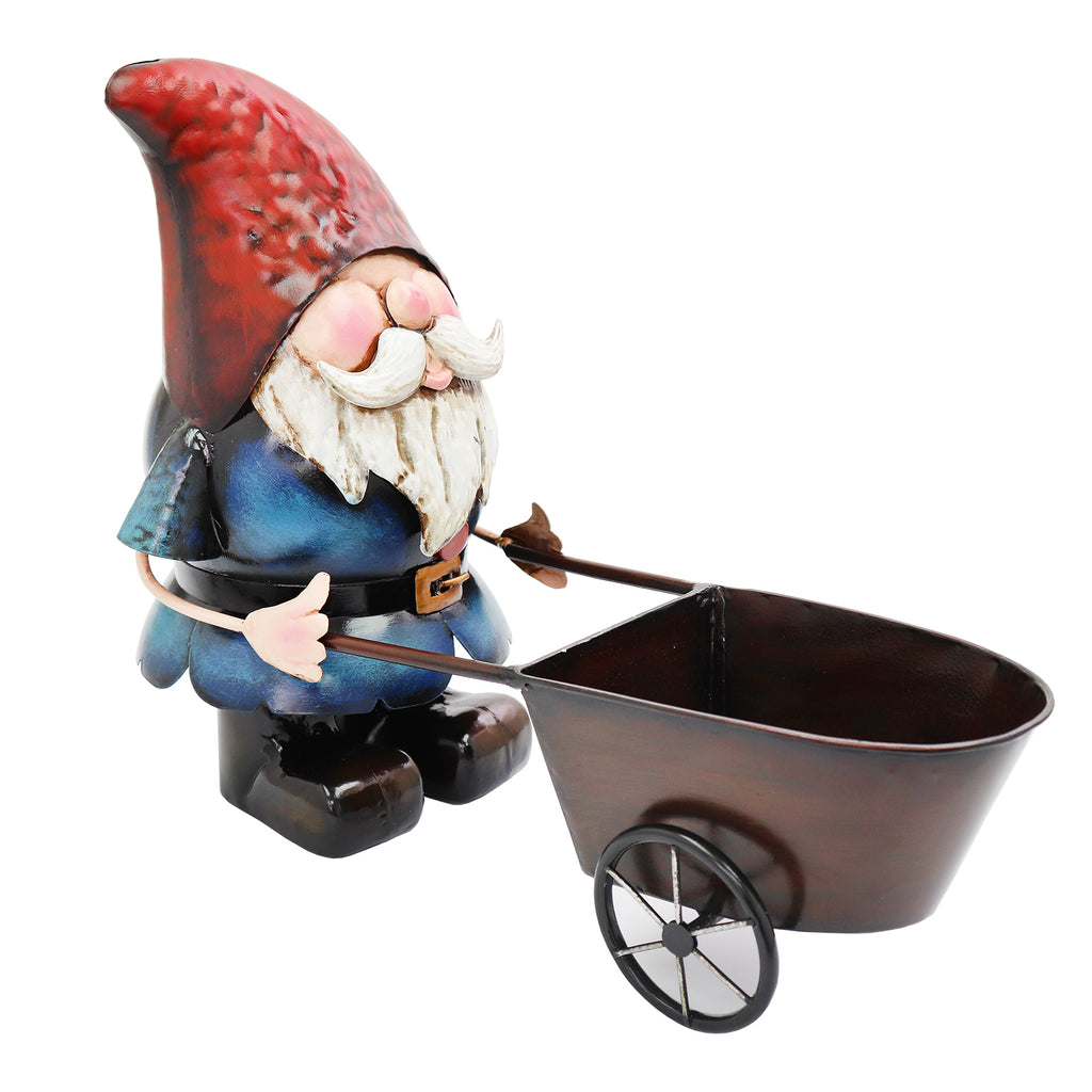 Metal Gnome with Wheelbarrow Planter