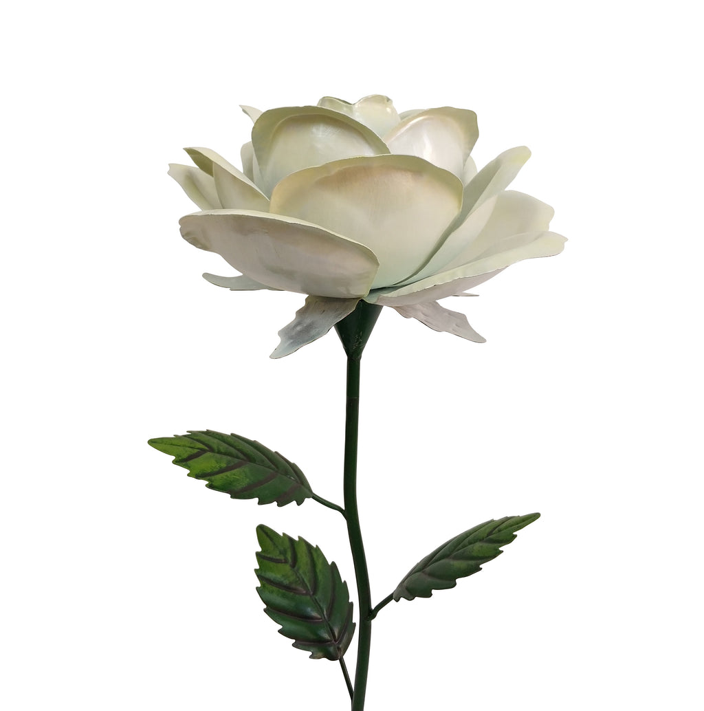 1.2m Giant Metal Rose Garden Stake - White
