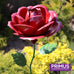 1.2m Giant Metal Rose Garden Stake - Red