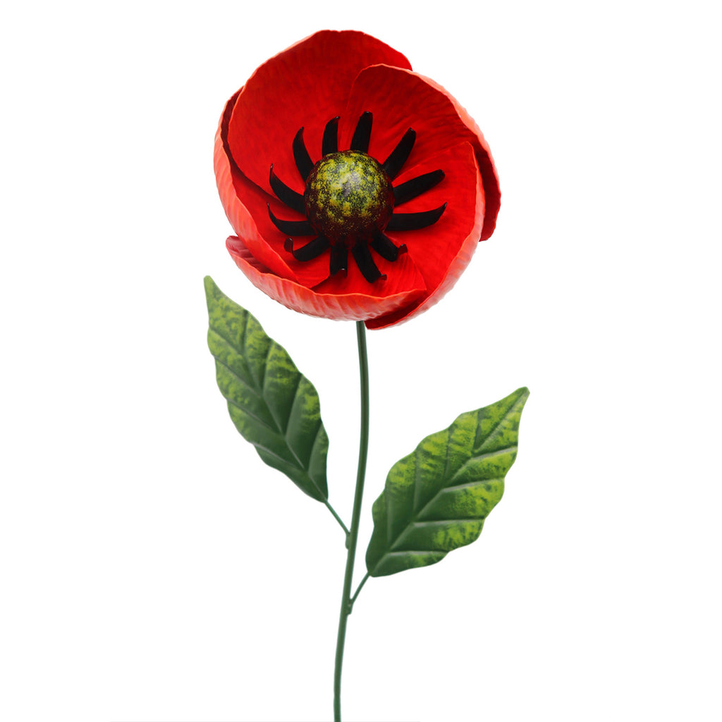 82cm Medium Metal Poppy Garden Stake