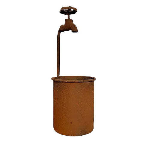 Metal Rusted Water Tap Planter