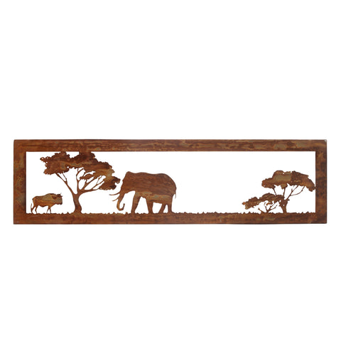 Rusted Metal African Savannah Elephant and Buffalo Wall Art