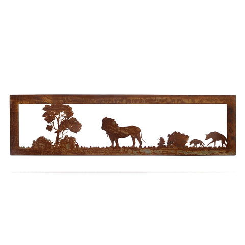 Rusted Metal African Savannah Lion and Hyena Wall Art