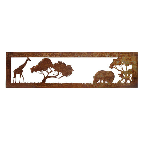 Rusted Metal African Savannah Giraffe and Hippo Wall Art