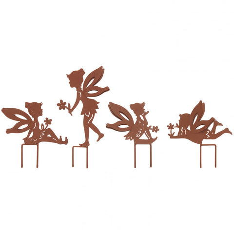 Set of 4 Small Fairies with Stakes