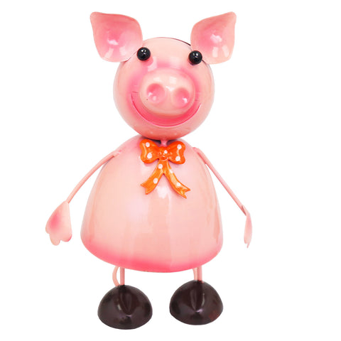 Small Metal Dancing Pig Garden Ornament