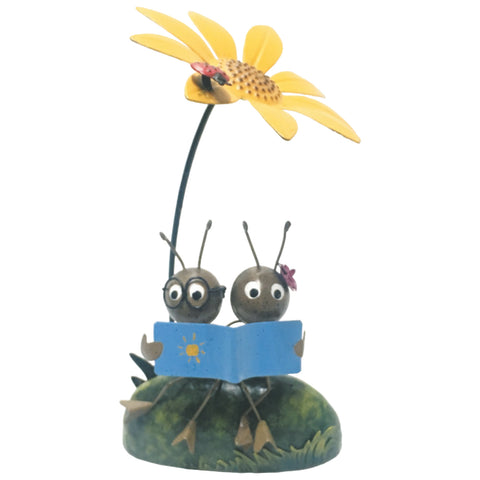 Miniature Life - Metal Ant Couple Reading Garden Ornament