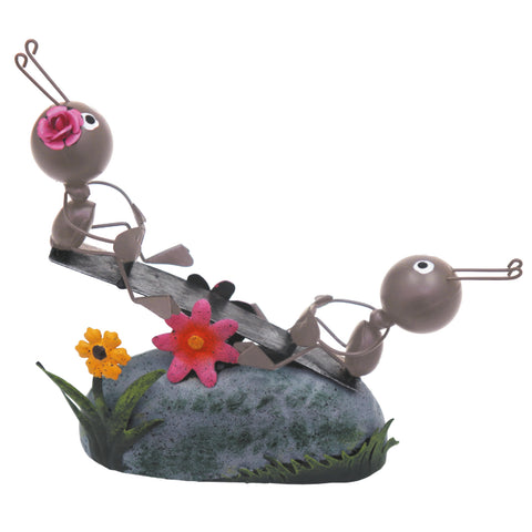 Miniature Life - Metal Ant Couple on Seesaw Garden Ornament