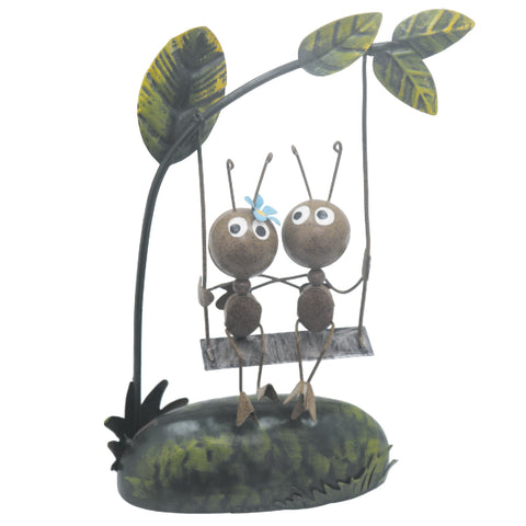 Miniature Life - Metal Ant Couple on Swing Garden Ornament