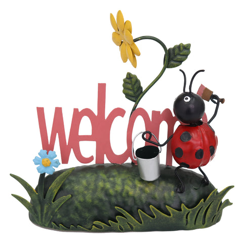 Miniature Life - Metal Ladybird Welcome Garden Ornament
