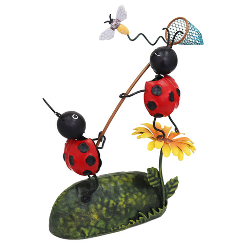 Miniature Life - Metal Ladybird Catching Dragonfly Garden Ornament
