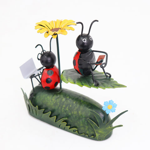 Miniature Life - Metal Ladybird with Flower Umbrella Garden Ornament
