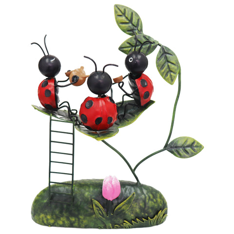 Miniature Life - Metal Ladybird Welcome Tea Party Garden Ornament