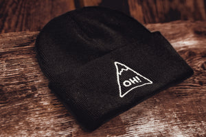 Black Beanie with White embroidered triangle and OH! lettering