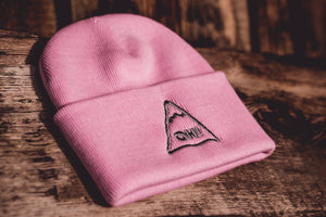 Pink Beanie hat with triangle logo and OH! embroidered in the centre
