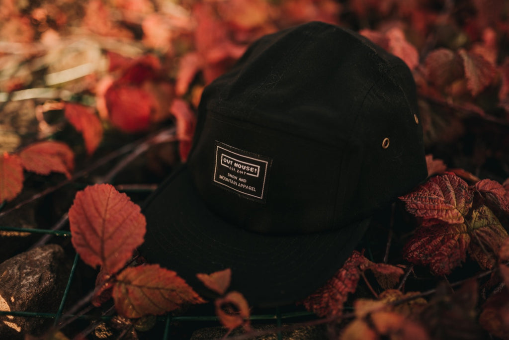 Black 5 Panel Patch Cap