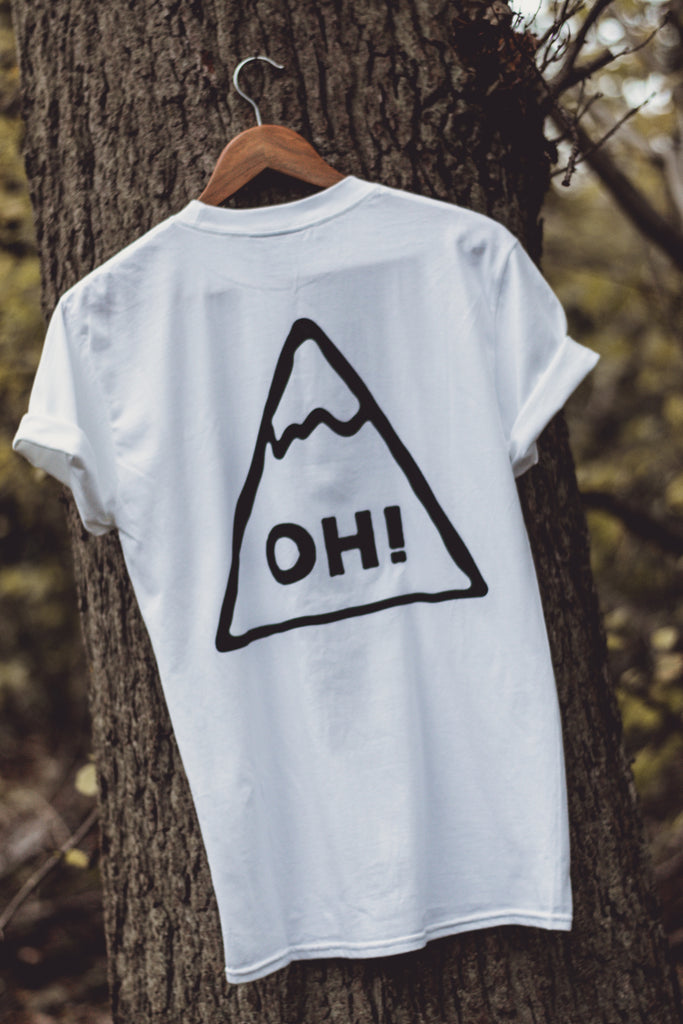 White T-shirt with Black triangle print and OH! lettering in the centre