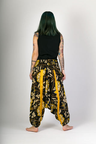 Hareem yoga Trousers Black Yellow Floral