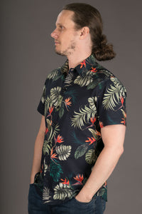 Aloha Print Floral Cotton Slim and Regular Fit Mens Shirt Short Sleeve