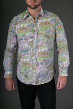 Animal Jungle Pink Print Cotton Slim Fit Mens Shirt Long Sleeve