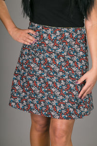 Reversible A Line Green Patch Blue Floral Print with Pocket