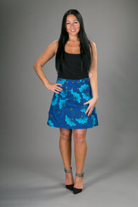 Reversible A Line Blue Green Floral Print with Pocket