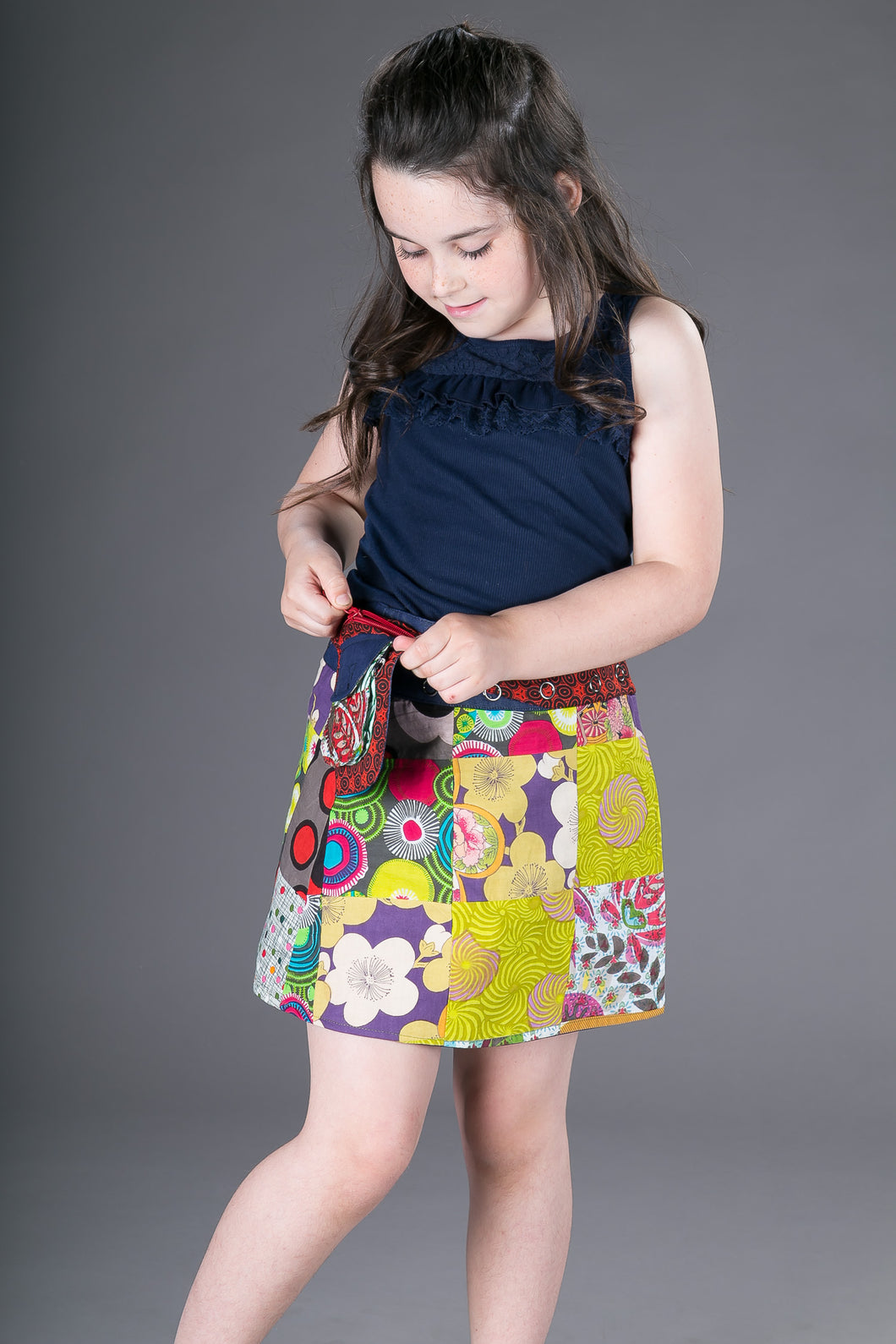 Childrens Reversible Cotton Denim Skirt Green