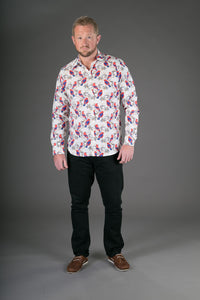 Birds Red Floral Print Cotton Slim Fit Mens Shirt Long Sleeve