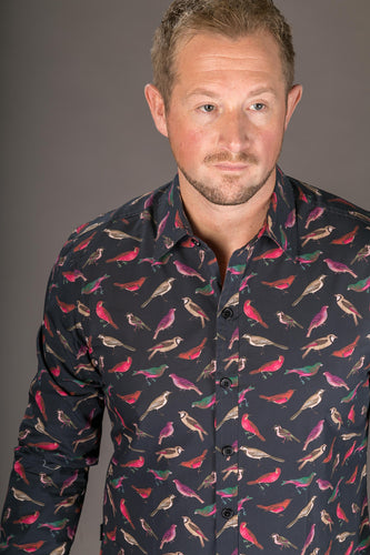 Birds Black Print Cotton Slim Fit Mens Shirt Long Sleeve