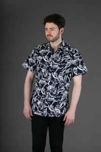 Black White Fish Print Cotton Slim Fit Mens Shirt Short Sleeve