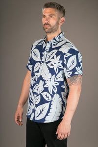 Blue Floral Large Aloha Print Cotton Slim Fit Mens Shirt Short Sleeve