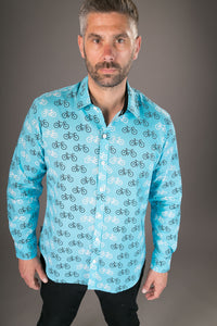 Blue Bicycle Print Cotton Slim Fit Shirt