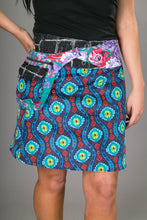 Reversible Cotton Corduroy Skirt Blue Red Black White Print with Pocket