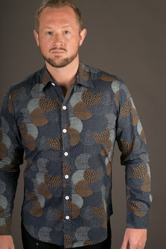 Blue Circular Dots Print Cotton Slim Fit Mens Shirt Long Sleeve