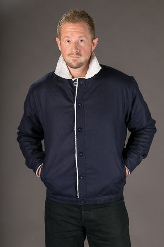 Blue Wool Mens Winter Jacket Shearling Lining