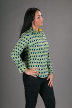 Blue Yellow Geometric Print Cotton Slim Fit Womens Shirt Long Sleeve