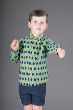 Boys Cotton Blue Yellow Long Sleeve Shirt