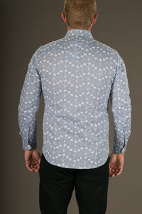 Blue White Embroidered Print Cotton Slim Fit Mens Shirt Long Sleeve