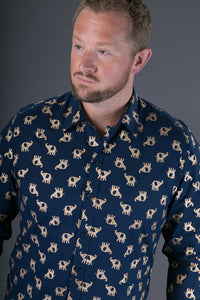 Blue Gold Elephant Print Cotton Slim and Regular Fit Mens Shirt Long Sleeve