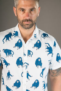 Blue Monkeys on White Print Cotton Slim Fit Mens Shirt Short Sleeve