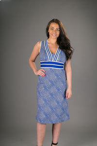 Olivia Cotton Dress Blue White Geometric Print