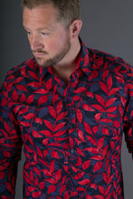 Blue Red Floral Print Cotton Slim and Regular Fit Mens Shirt Long Sleeve