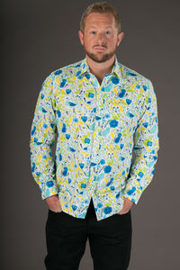 Blue Yellow Birds Floral Print Cotton Slim Fit Mens Shirt Long Sleeve