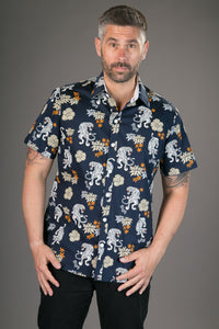 Tigers Floral Print Blue Cotton Slim-Fit Short-Sleeve Mens Shirt