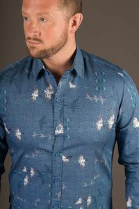 Blue White Geese Birds Print Cotton Slim and Regular Fit Mens Shirt Long Sleeve