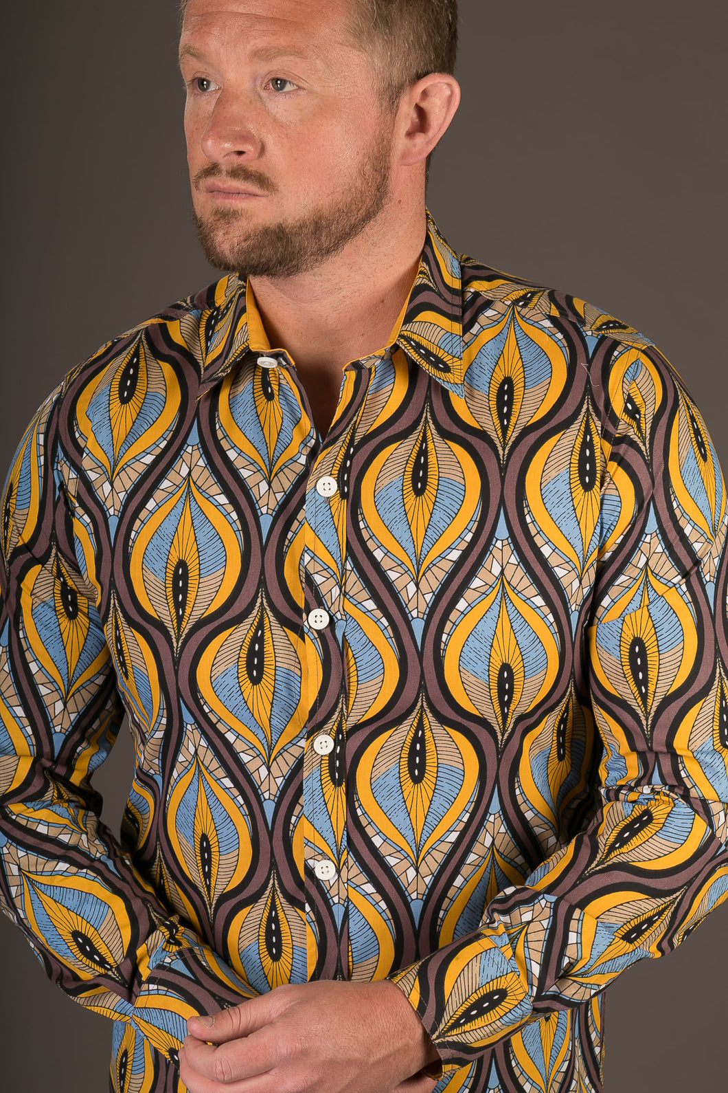Blue Yellow Brown Print Cotton Slim and Regular Fit Mens Shirt Long Sleeve