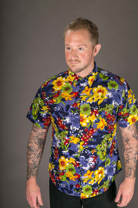 Blue Yellow Floral Print Cotton Slim and Regular Fit Mens Shirt Short Sleeve