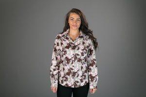 70s Brown Pink Floral Print Cotton Slim Fit Womens Shirt Long Sleeve