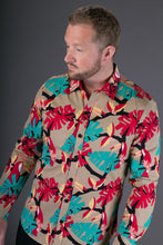 Brown Red Toucan Bird Print Cotton Slim Fit Mens Shirt Long Sleeve